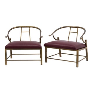 A Pair of Mastercraft designed Brass Framed Chairs 1970s