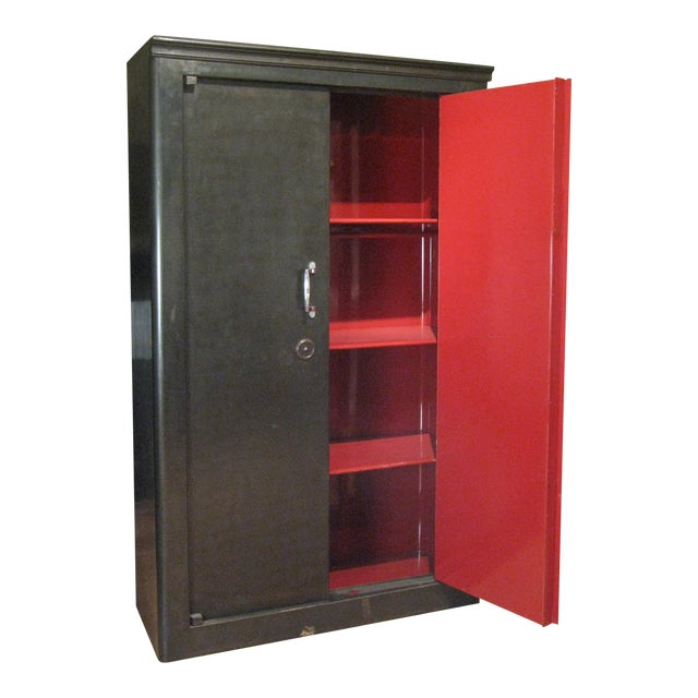 Antique French Steel Safe Cabinet For Sale