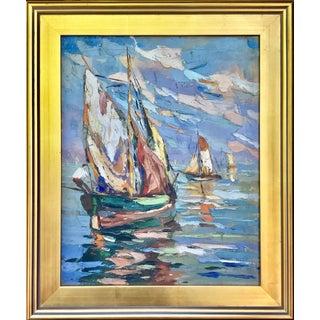 Sail Boats Vintage Italian Oil Painting c.1940