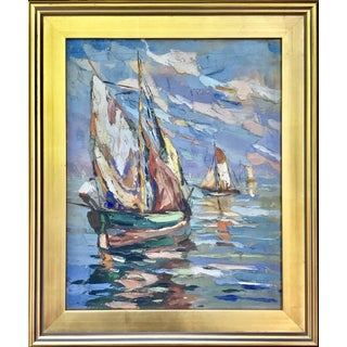 Vintage Italian Oil Painting Sail Boats C.1940 Artist Signed For Sale