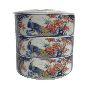 Mid Century Modern Porcelain Bento Box Chinoiserie Stacking Trinket Dish