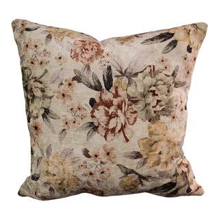 Shabby Chic Summer Floral Endine Pansy Velvet Turkish Pillow Ivory Gold Pillow For Sale
