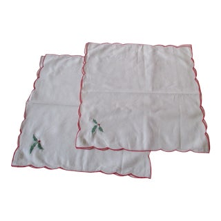 Vintage 100% Cotton With Christmas Holy Embroidered Motif Set of 4 Placemats For Sale