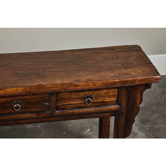 Wood 18th C. Chinese Ming Style Elm Sideboard For Sale - Image 7 of 11