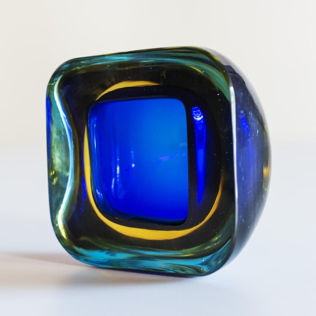 Italian Murano Glass Sommerso Square Bowl in Blue and Yellow, 1960s For Sale - Image 3 of 8