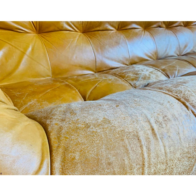Percival Lafer Vintage Percival Lafer Yellow Leather Sofa For Sale - Image 4 of 5