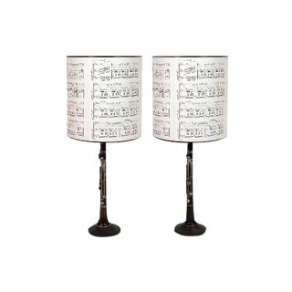 Pair of Clarinet Table Lamps With Antique Sheet Music Shades For Sale