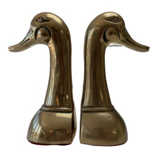 Vintage Mid Century Modern Oversized Brass Mallard Duck Bookends - a Pair For Sale