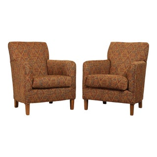 Sam Moore Custom Upholstered Pair Lounge Chairs For Sale