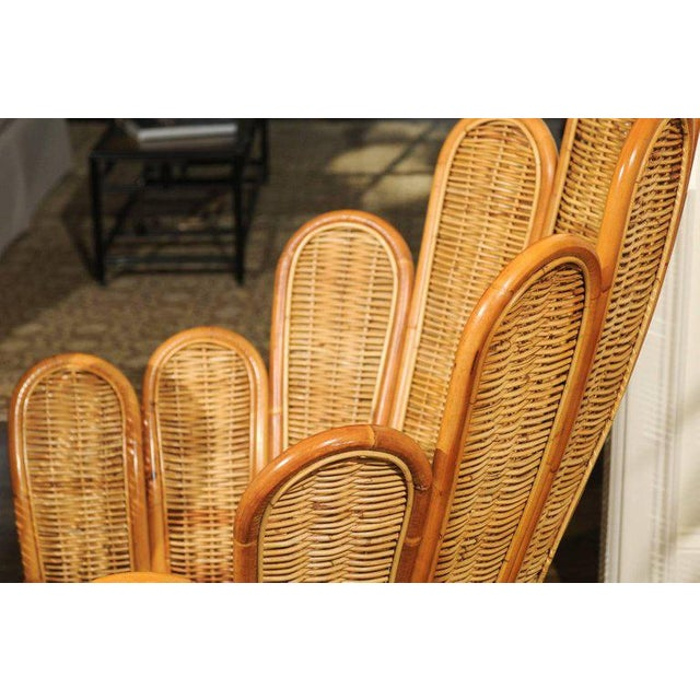 Majestic Restored Pair of Vintage Rattan and Wicker Palm Frond Club Chairs For Sale - Image 11 of 13