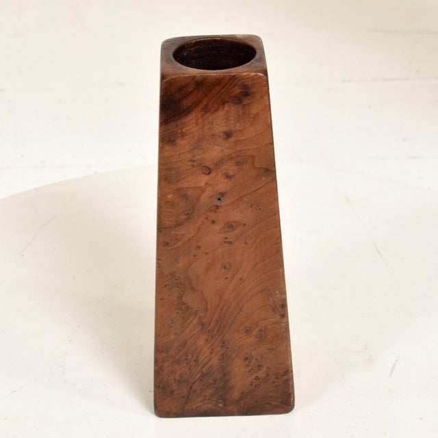 Sam Maloof Mid-Century Modern Burl Wood Craftsmanship Candle Holder For Sale - Image 4 of 9