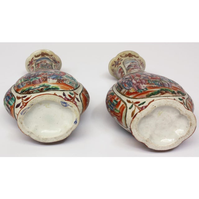 Two Pairs, 18th Century Mandarin Pallet Chinese Export Vases For Sale - Image 10 of 10