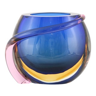 Formia Multicolored Murano Glass 'Sommerso' Vase For Sale