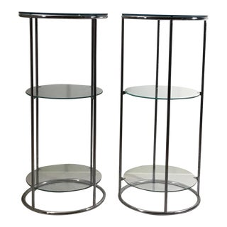 1970's Mid Century Modern Chrome Shelf Etagere - a Pair For Sale