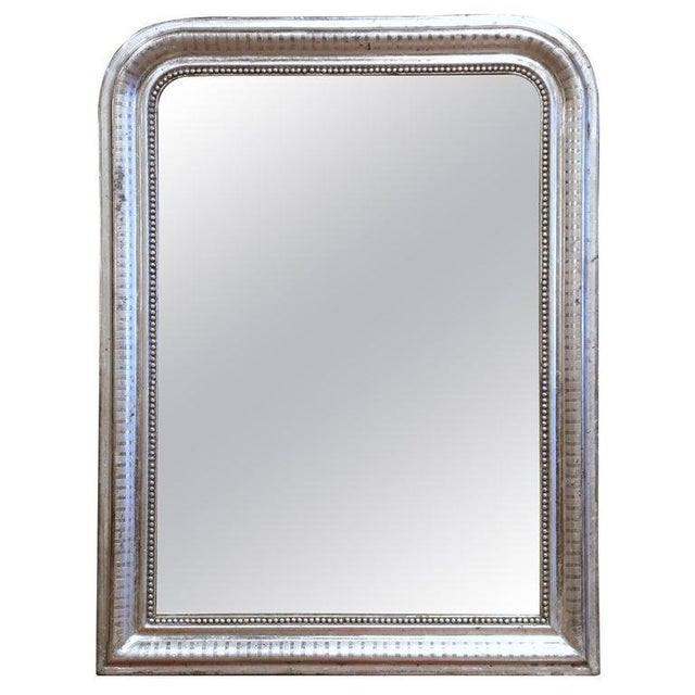 Glass 19th Century French Louis Philippe Silver Leaf Mirror With Engraved Stripe Decor For Sale - Image 7 of 7