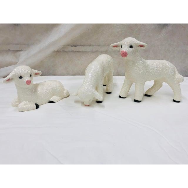 Ceramic Vintage Ceramic Lamb - Set 3 For Sale - Image 7 of 7