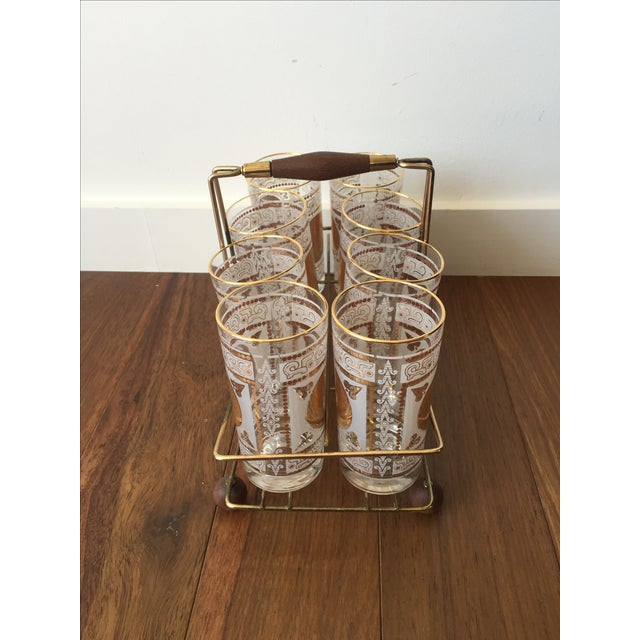 Gold Highball Glasses With Caddy - Set of 8 - Image 5 of 7