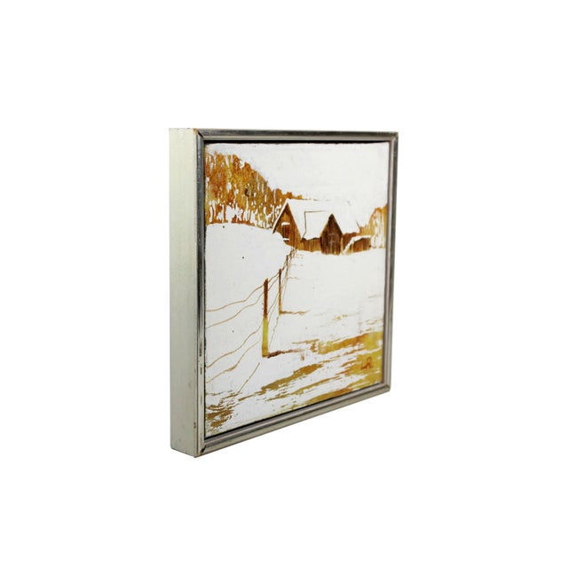 """This stark white and autumnal coloured mid-century oil painting on canvas is in a 1.5"""" wood and faux silver floating..."""
