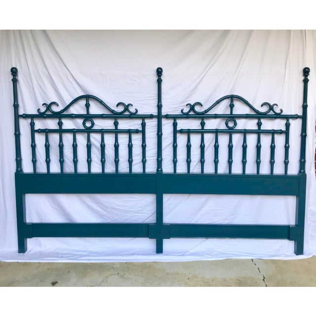 Metal Teal Lacquered Faux Bamboo Headboard, King Size For Sale - Image 7 of 7