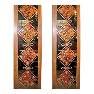 Pair of Signed and Dated Eglomise Panels For Sale