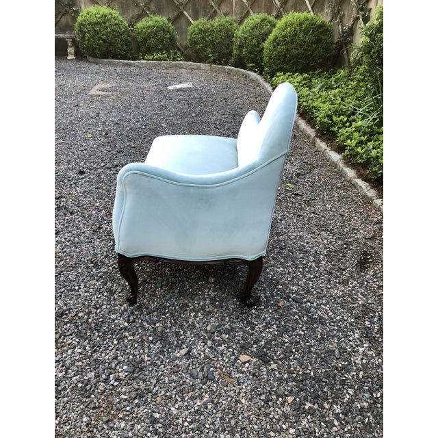 Very pretty vintage settee newly upholstered in a Tiffany blue cotton velvet. Curved back and diminutive size make this...