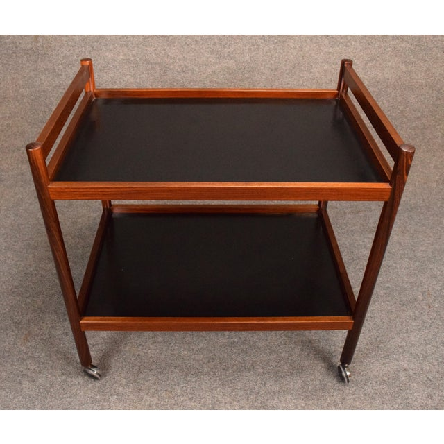 Rosewood 1960s Danish Modern Rosewood Cocktail Bar Cart For Sale - Image 7 of 8