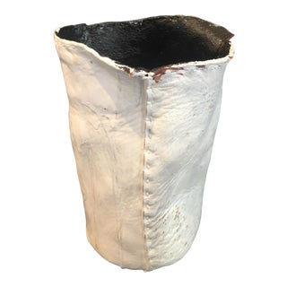 "Act of Guilt ""Stitches of Guilt 01"" Resin Coated Leather Hand Painted Vase For Sale"
