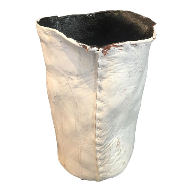 """Act of Guilt """"Stitches of Guilt 01"""" Resin Coated Leather Hand Painted Vase For Sale"""