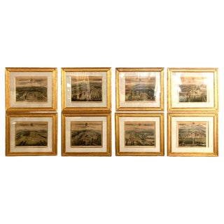 Set of Eight Copperplate Engravings Inscribed and Finely Framed, Leonard Knyff For Sale