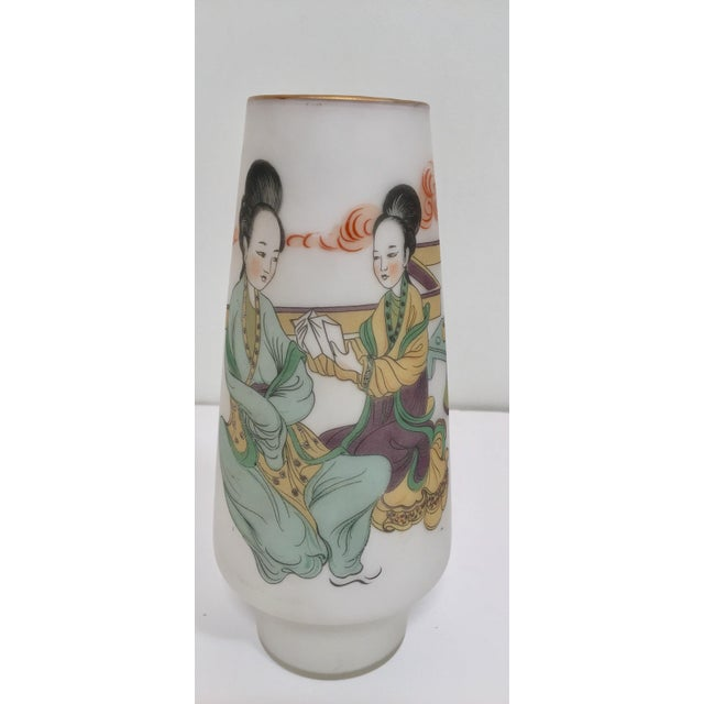 Asian Japanese Opaline White Glass Vase Hand Painted With Geishas For Sale - Image 3 of 11
