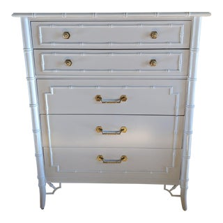 1970s Chinoiserie Thomasville Allegro Faux Bamboo White 9-Drawer Highboy For Sale