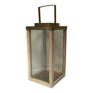 Brass Wood & Glass Lantern For Sale