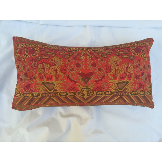Asian Silk Embroidered Foo Dog Boudoir Pillow For Sale - Image 3 of 7