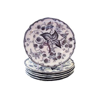 Antique Mulberry Dinner Plates, S/6 For Sale