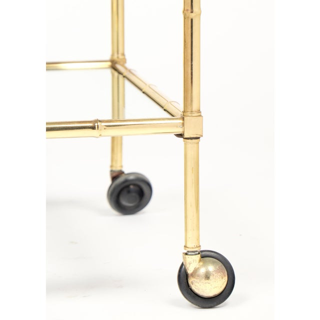 Vintage French Brass Faux Bamboo Bar Cart or Trolley by Maison Baguès For Sale - Image 9 of 9