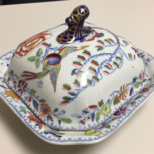 Masons Square Covered Server features a primarily blue chinoiserie design with hand painted yellow, red, and green accents...