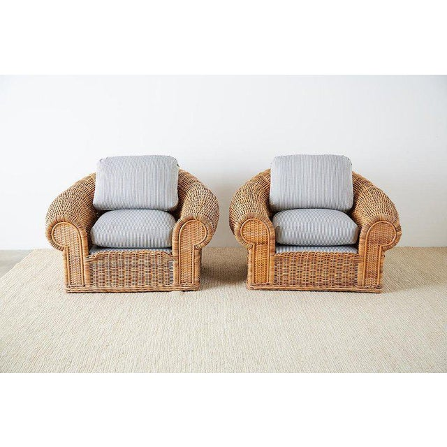Michael Taylor Michael Taylor Style Wicker Lounge Chairs With Ottoman For Sale - Image 4 of 13
