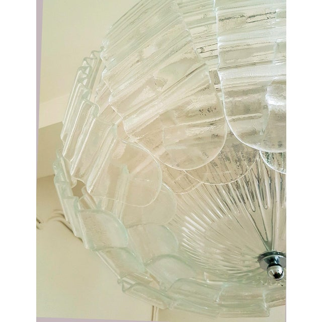 1970s Pair of Large Clear Murano Glass Chandeliers by Barovier & Toso, 1970s For Sale - Image 5 of 9