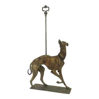 1930's Painted Brass Greyhound/ Whippet Doorstop by Gatco Solid Brass For Sale