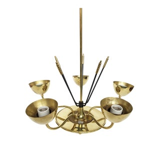 Midcentury Chromed Brass Chandelier in the Manner of Stilnovo For Sale