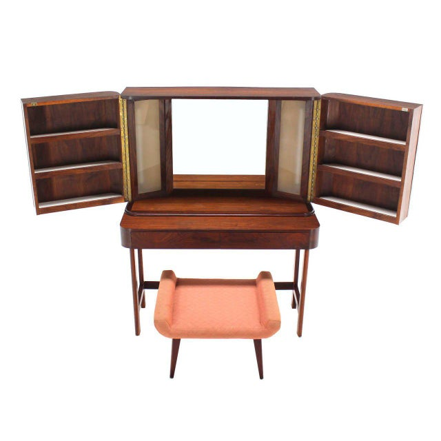 Wood Rosewood Art Deco Open Up Vanity with Light and Matching bench For Sale - Image 7 of 10