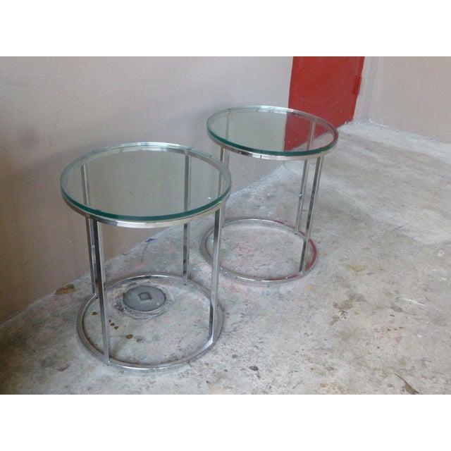 Contemporary 1970s Vintage Milo Baughman Chrome Tables - A Pair For Sale - Image 3 of 11