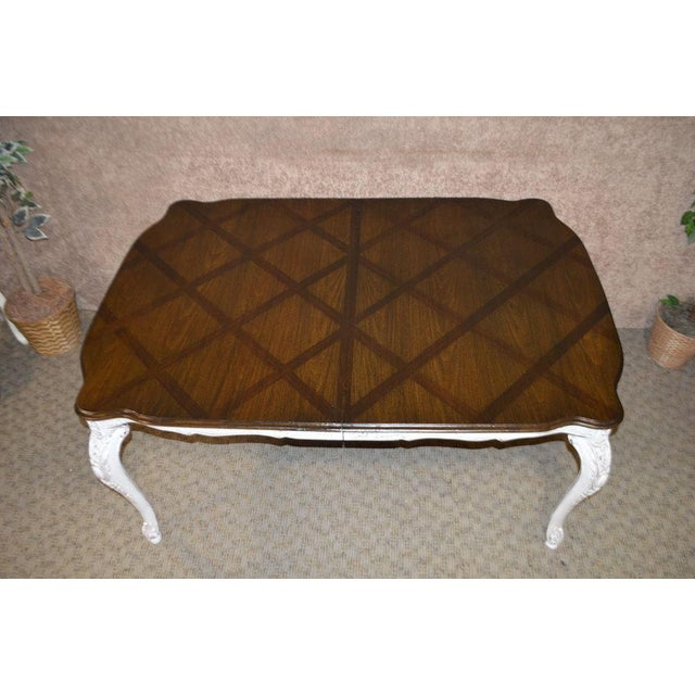 """Dining Table Shabby Cottage Chic 2 Leaves / 18.5"""" Each Measurements: 65"""" L x 45""""D x 30""""H w/Leaves 102"""" Length"""