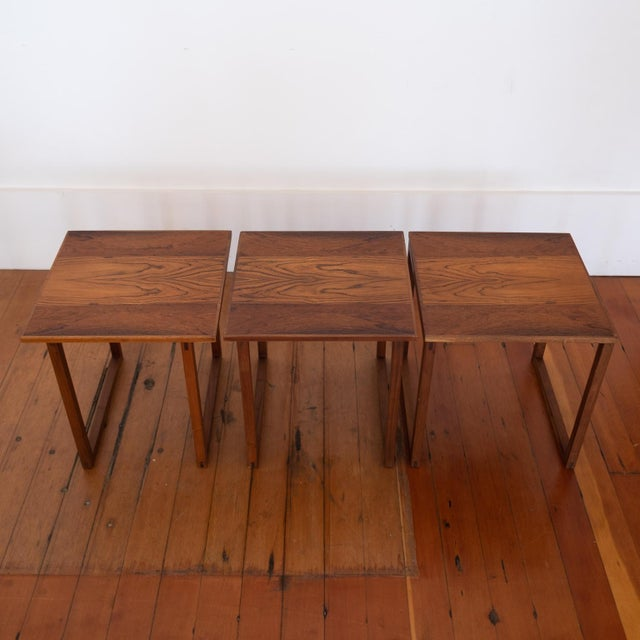 Brown Rosewood Kai Kristiansen Nesting Cube Tables For Sale - Image 8 of 12