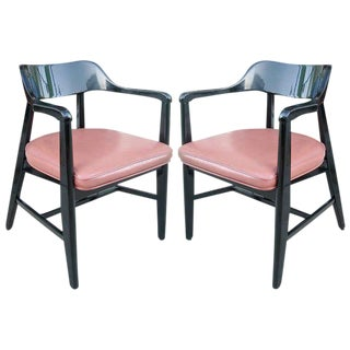 One Pair Mid-Century Black Lacquer Arm Chairs
