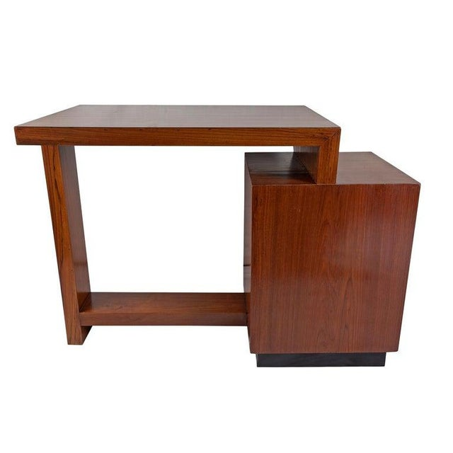 Brown Mid-Century Modern Teak Desk With Ebonized Accents For Sale - Image 8 of 10