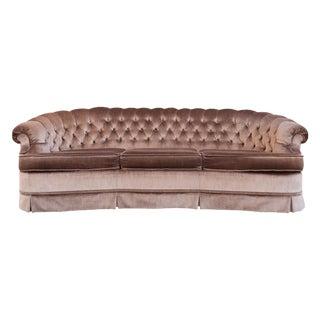 Hollywood Regency Mocha Velvet/Velour Tufted Sofa