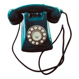 Vintage Push Buttons Teal Telephone For Sale