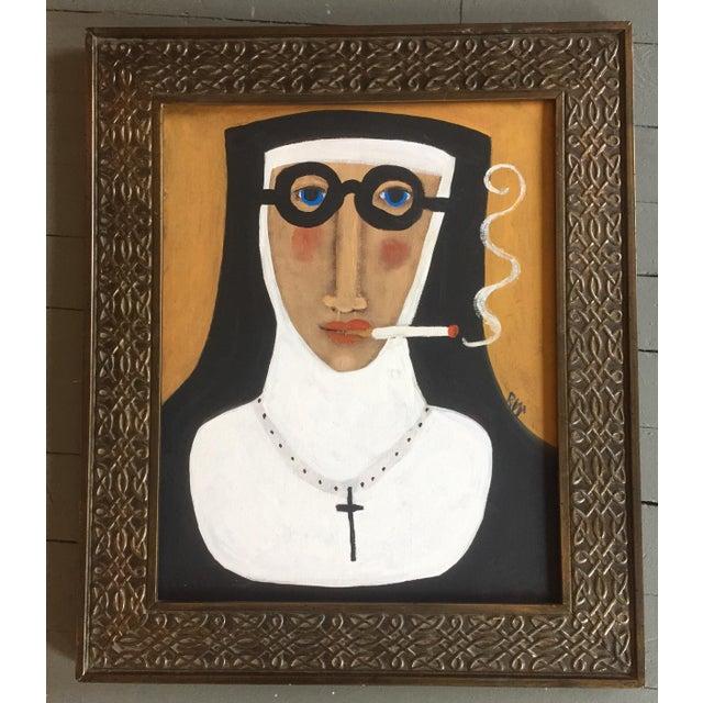 """""""Smoking Nun"""" Contemporary Folk Painting - Image 2 of 5"""