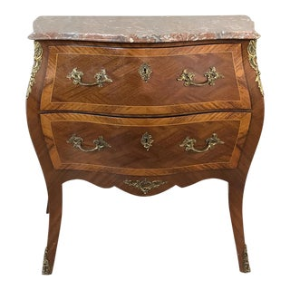 Antique French Louis XV Bombe Marquetry Marble Top Commode For Sale